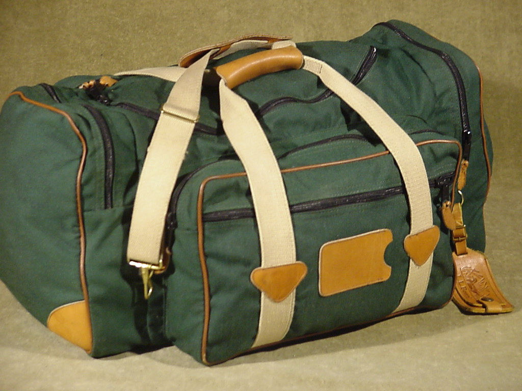 green vintage ll bean canvas leather travel overnight