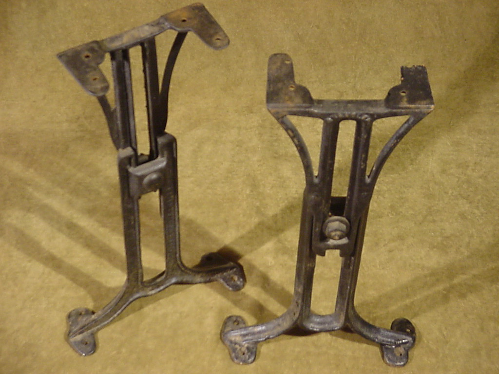 Antique chandler adjustable cast iron legs june 9 1898 for Old iron table legs